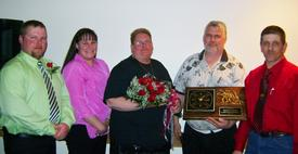 2012 Fireman Of the Year  L-R : 1st Asst. Chief J. Perry, 3rd Asst. Chief D. Rose, Gloria Enslow, FF William Enslow and Chief T. Jerome