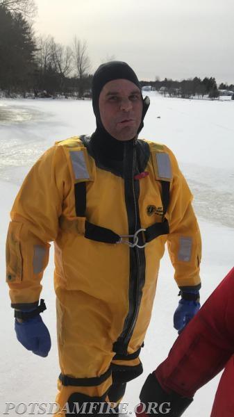 Probationary member J. Kozak getting ready to perform his rescue evolution